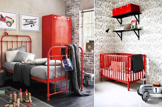Habitación de niño rojo y gris