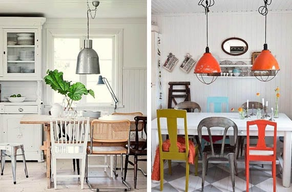 Combinar sillas diferentes en la cocina es tendencia