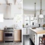 Cocina blanca con elementos de madera