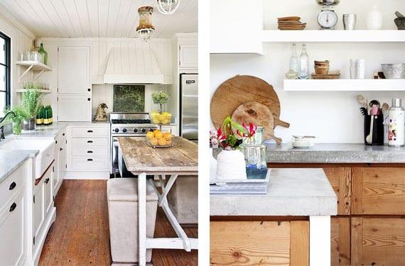 Decorar con madera una cocina blanca - Cocina rustica blanca ...