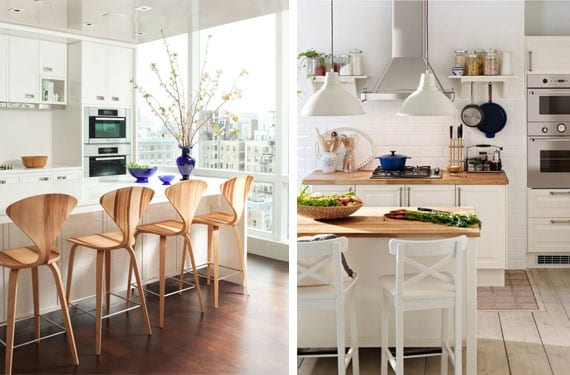 Decorar con madera una cocina blanca for Barras americanas