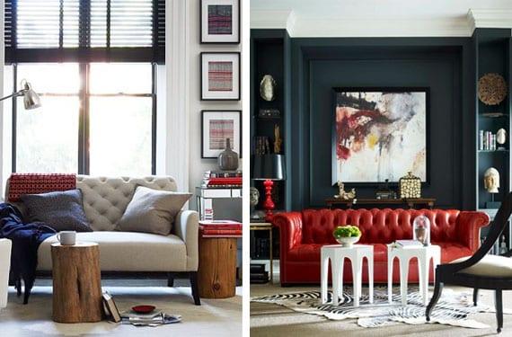 Sofás con tapizado capitoné