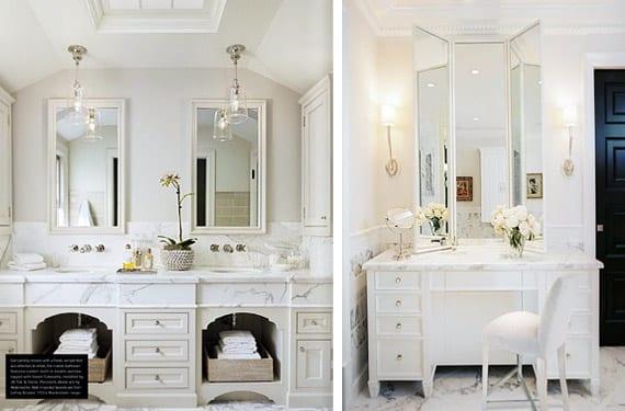 Cuartos de baño con mármol blanco, luminosos y elegantes