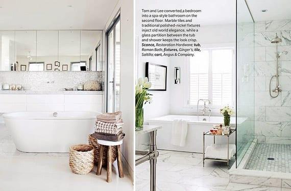 Baños en mármol blanco