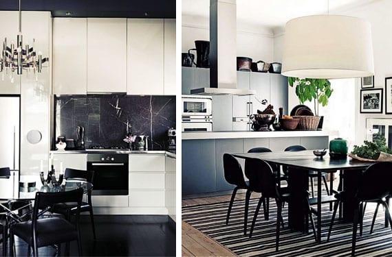 Cocinas en blanco y negro modernas y sofisticadas for Cocina con electrodomesticos de color negro