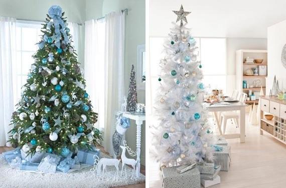 Decoraci n navide a en tonos fr os - Arboles de navidad blanco ...
