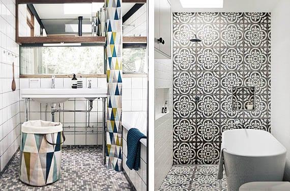 Azulejos en blanco y negro para el cuarto de ba o - Baldosas para banos modernos ...