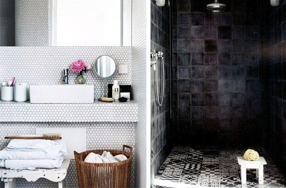 Baños con azulejos en blanco y negro