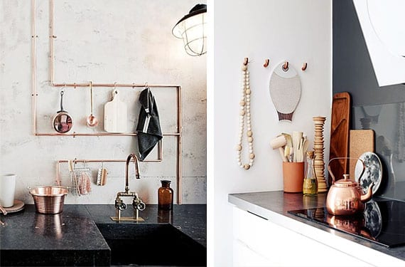 Detalles cobre en la cocina