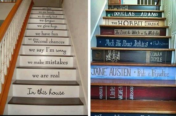 Escaleras pintadas con mensajes