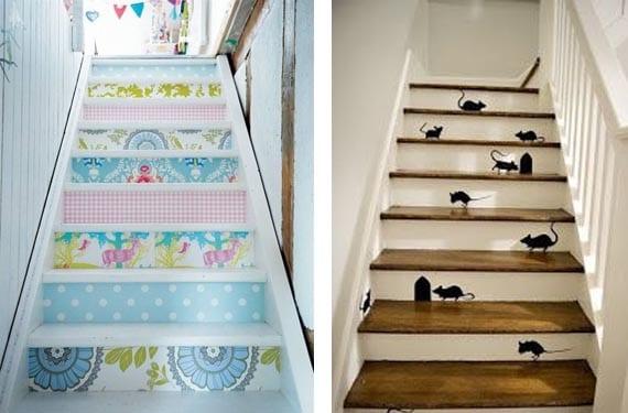Escaleras pintadas con motivos divertidos