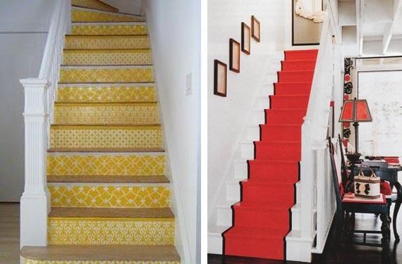 Escaleras pintadas en colores cálidos