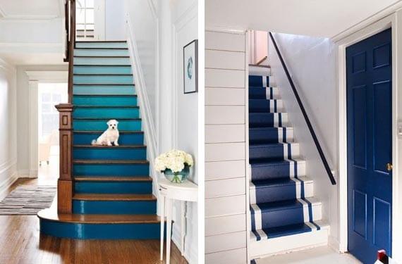 Escaleras pintadas en tonos fríos