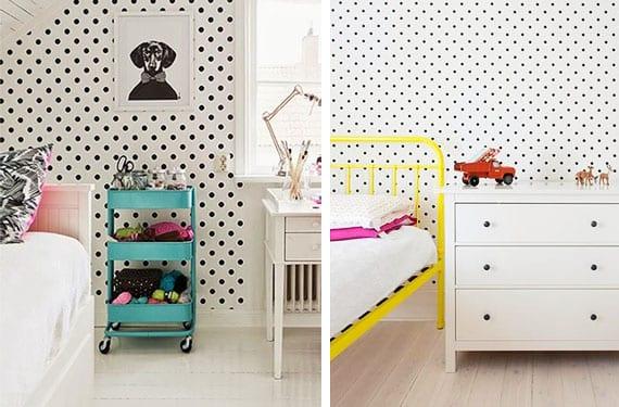 Lunares en habitaciones de niños