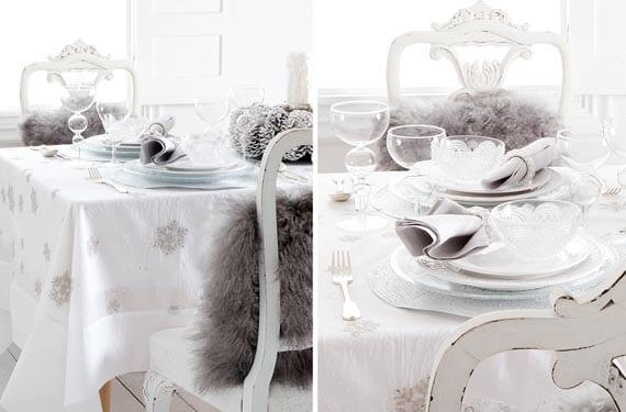Mesas navideñas blancas