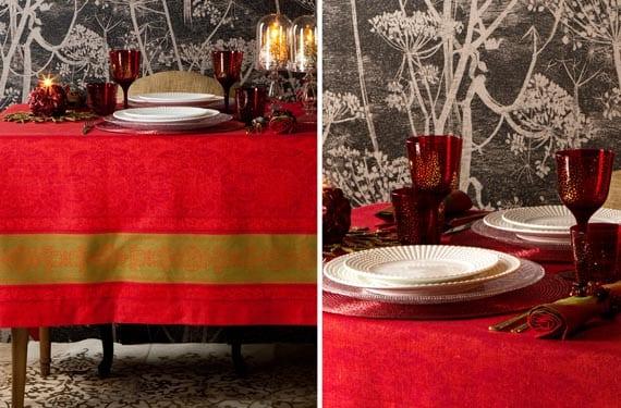 Mesas navideñas rojas