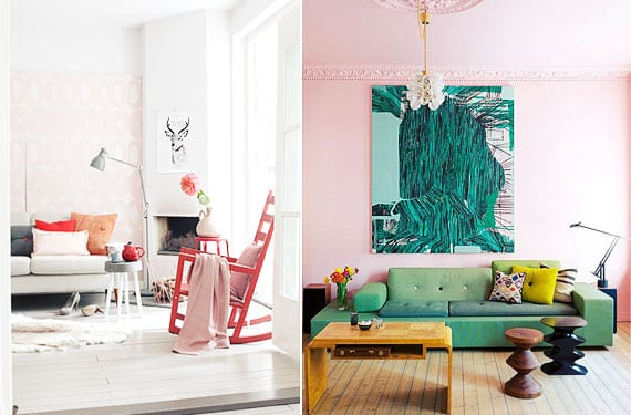 Salones con paredes rosas