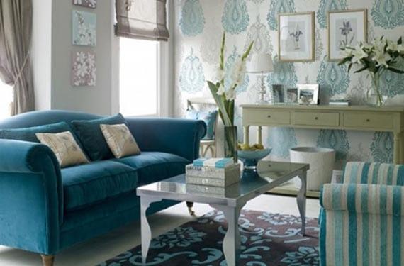 Sofá de colores en azul