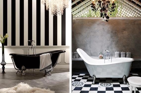 Bañeras en blanco y negro