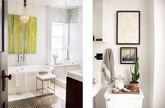 Pinturas y fotografías en el cuarto de baño