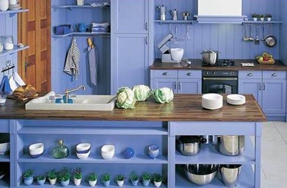 Cocinas rústicas en azul