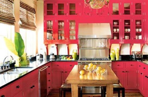 Cocinas rústicas en color rojo