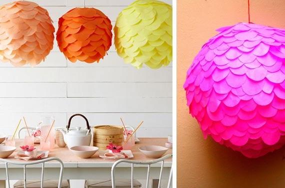 Lámparas de papel con escamas