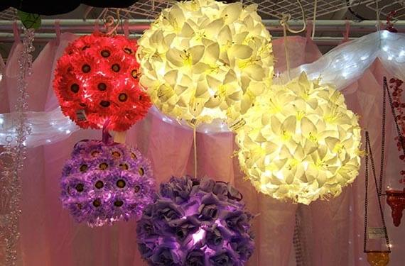 Lámparas de papel con flores