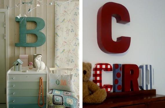 Letras en dormitorios infantiles