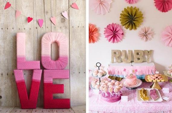 Letras decorativas en fiestas