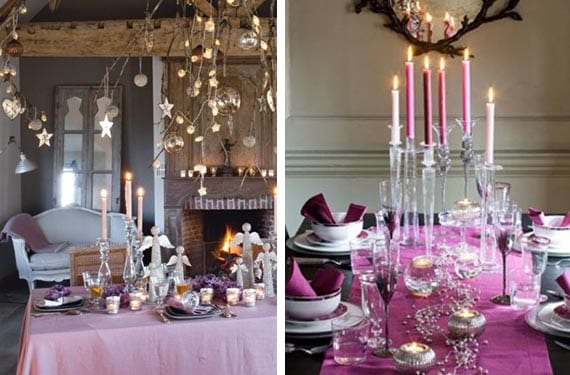 Mesas navideñas en color rosa