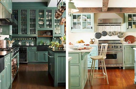 Muebles verdes para decorar tu cocina te atreves for Muebles de cocinas rusticas