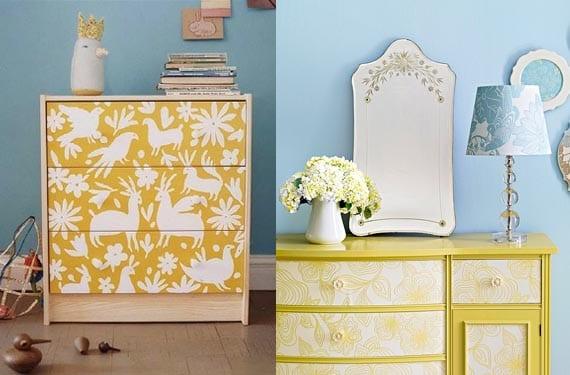 Muebles con papel pintado amarillo