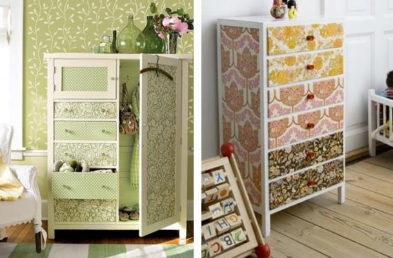 Muebles con papel pintado de varios colores