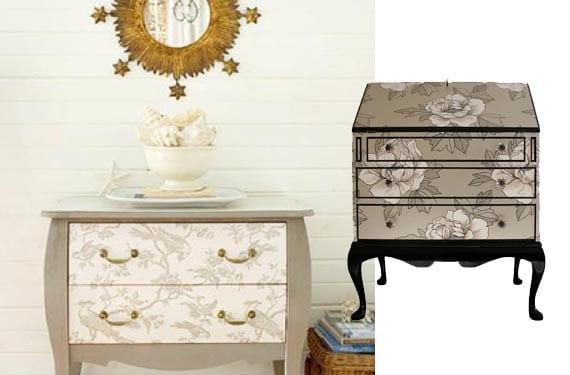 Muebles con papel pintado neutro