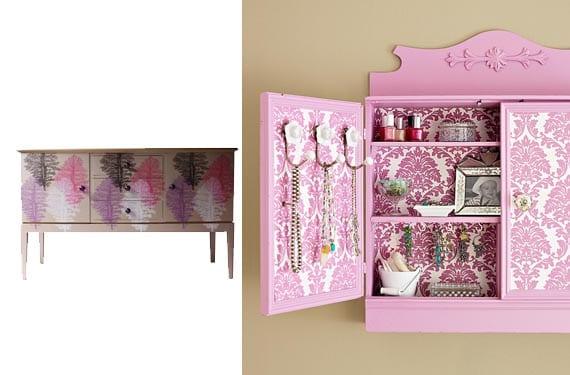 Muebles con papel pintado en rosa