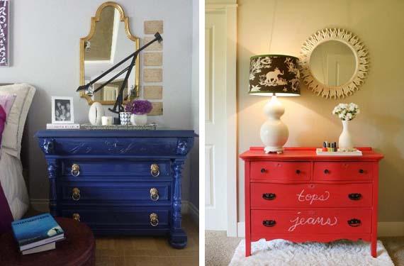 Muebles reciclados en tonos intensos for Muebles antiguos reciclados