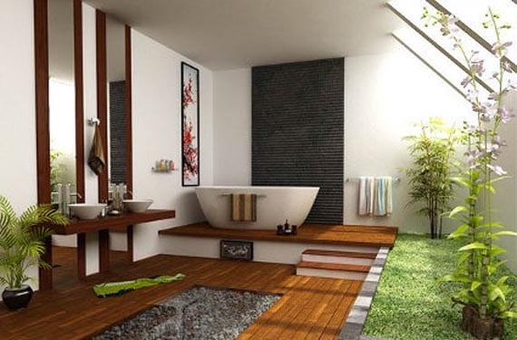 Plantas en un baño grande