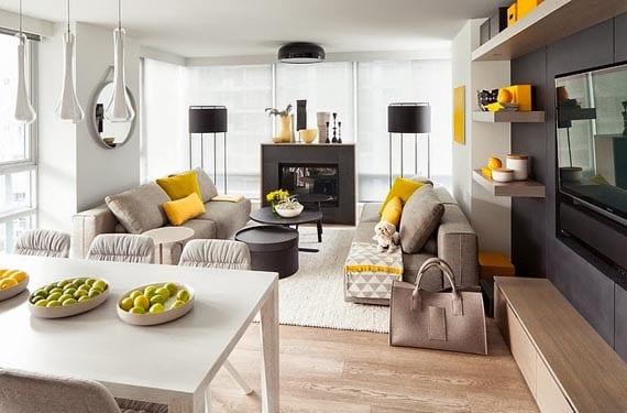Salones en amarillo y gris - Colores grises para salones ...