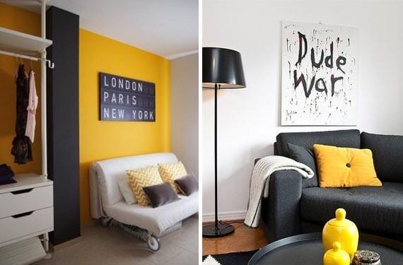 Amarillo y gris en el salón