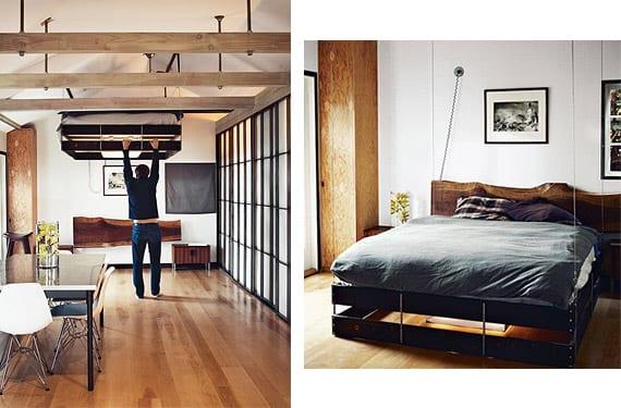 Cama plegable en el techo