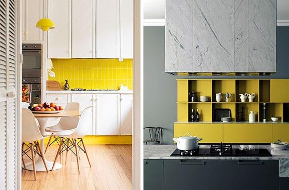 Ilumina tu cocina con muebles o azulejos amarillos