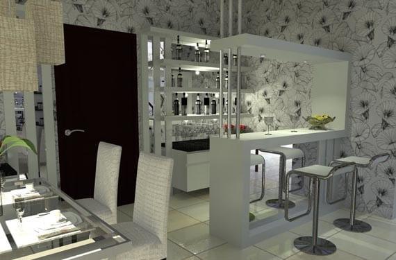 Incluye un mini bar en tu casa Living room mini bar furniture design