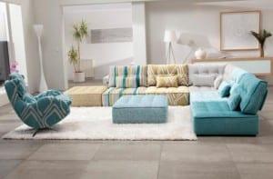 Sofás modulares en tonos pastel