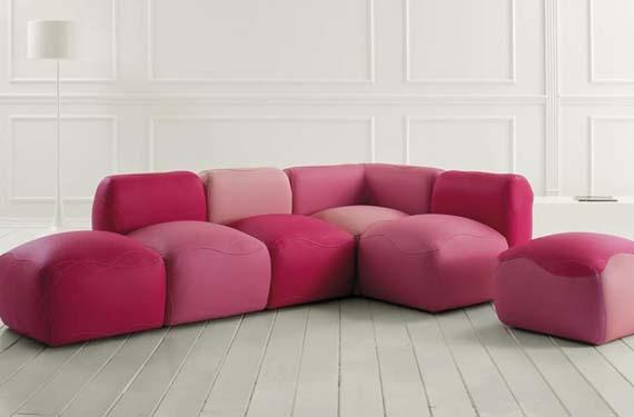 Sofás modulares en rosa