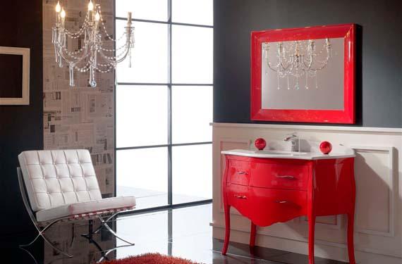 Baño moderno en color rojo