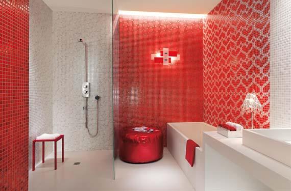 Baño romántico en color rojo