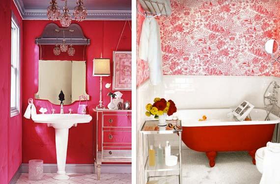 Baño vintage en color rojo