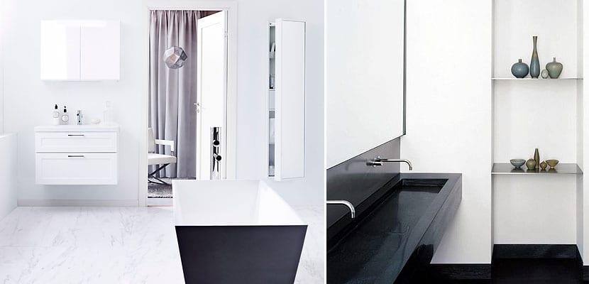 Baños minimalistas blanco y negro