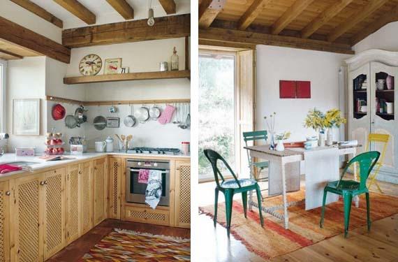 Cocina de casa rústica